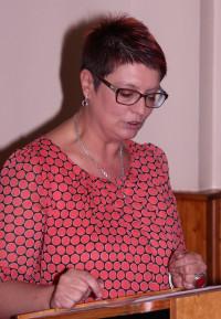 Karen Pohle bei Ihrer Ansprache zur Kandidatur